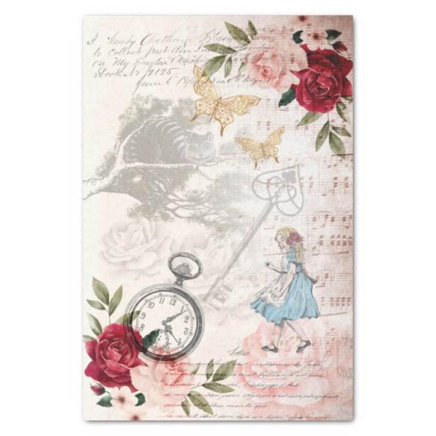 Vintage Alice In Wonderland Collage Decoupage Tiss Tissue Paper