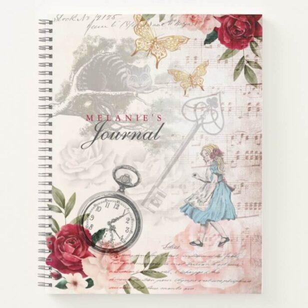 Vintage Alice In Wonderland Decoupage Collage Note Notebook