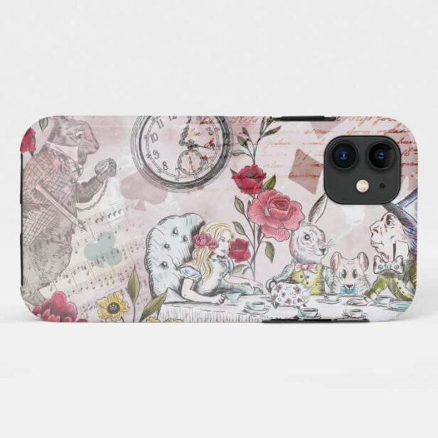 Vintage Alice In Wonderland Tea Party Collage Decoupage Case-Mate iPhone Case