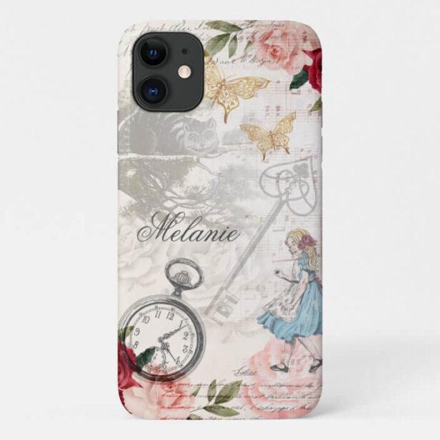 Vintage Alice In Wonderland Collage Decoupage Case