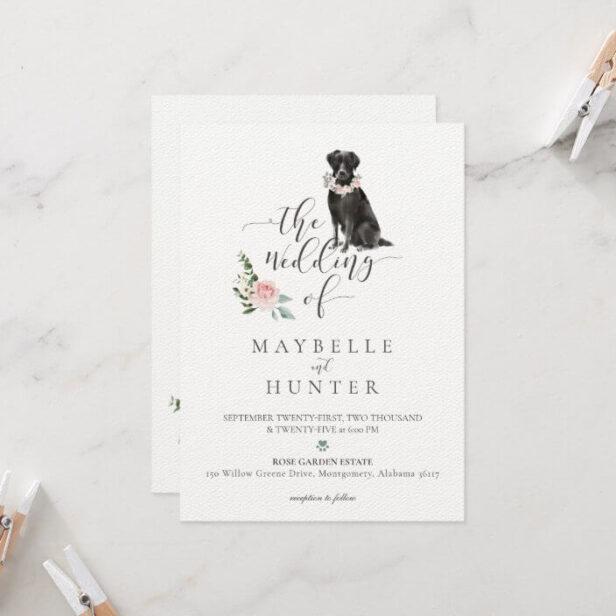 Watercolor Black Labrador Pet & Floral Pink Rose Wedding Invitation