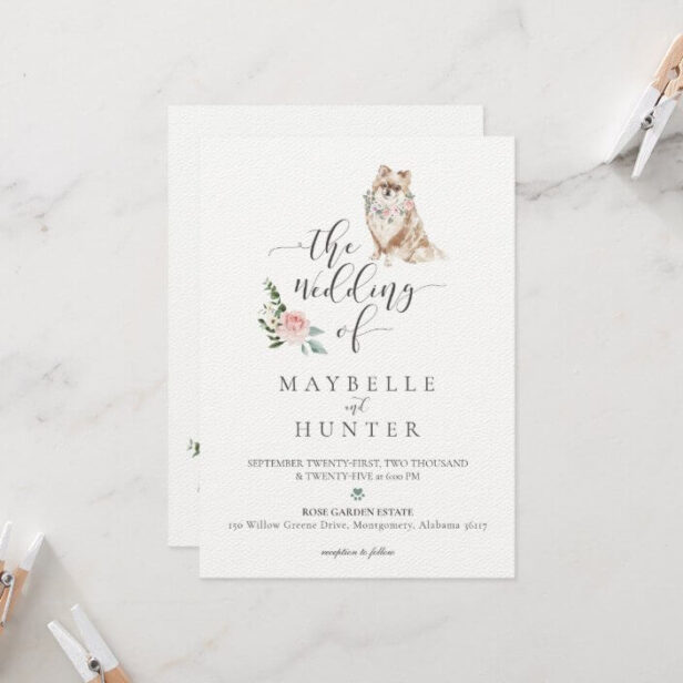 Watercolor Cute Pomeranian Pet & Floral Pink Rose Wedding Invitation