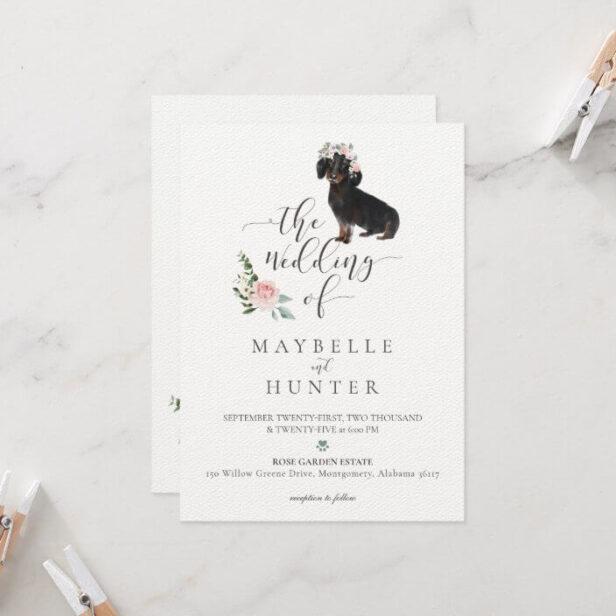 Watercolor Dachshund Bulldog Pet Floral Pink Rose Wedding Invitation