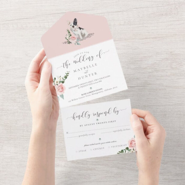 Watercolor French Bulldog Pet & Floral Pink Rose All In One Wedding Invitation