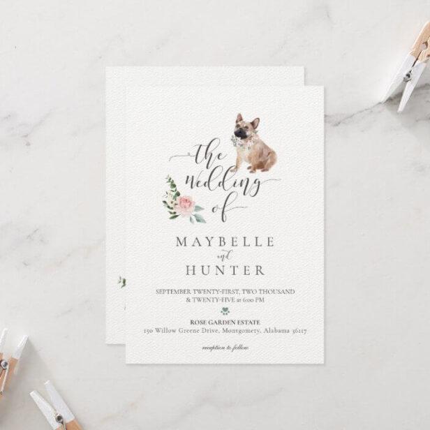 Watercolor French Bulldog Pet & Floral Pink Rose Wedding Invitation