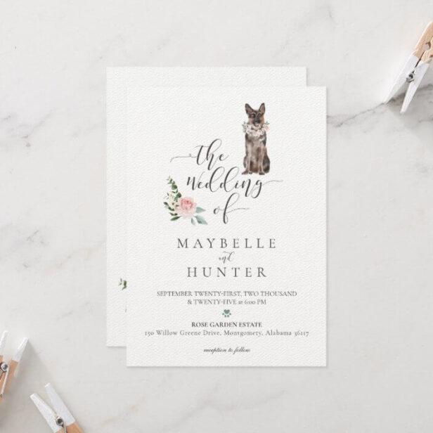 Watercolor German Shepherd Pet & Floral Pink Rose Invitation