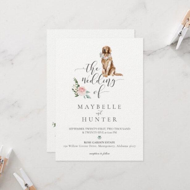 Watercolor Golden Retriever Pet & Floral Pink Rose Wedding Invitation