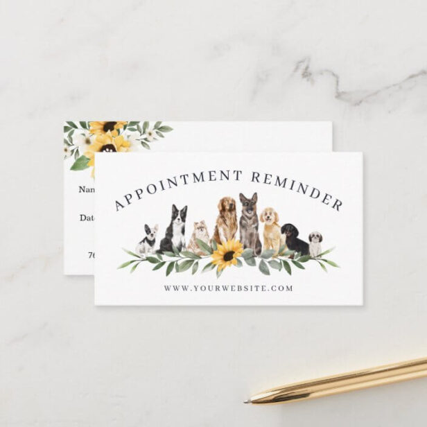 Watercolor Sunflowers Dog Breeds Animal Pet Care Appointment Card