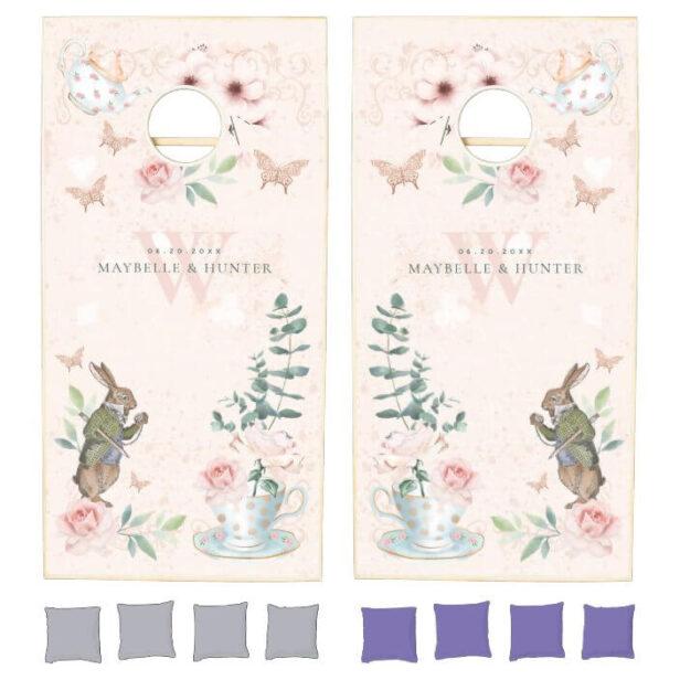 Wedding Wonderland Alice In Wonderland Decoupage Cornhole Set