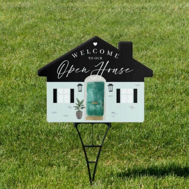 Welcome Open House Jade Watercolor Front Door Sign