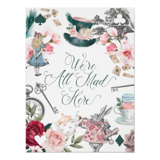 We're All Made Here   Alice In Wonderland Collage Poster