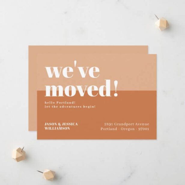 We've Moved! Orange & Peach Minimal Bold Type Moving Announcement