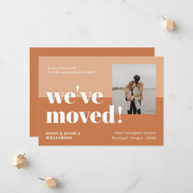 We've Moved Orange & Peach Minimal Bold Type Photo Moving Announcement