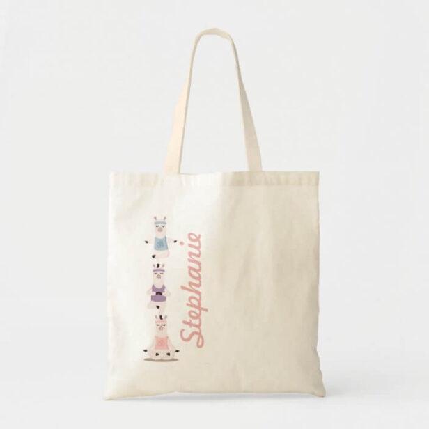 Yoga Llamas Meditating Fun & Cute Custom Name Tote Bag