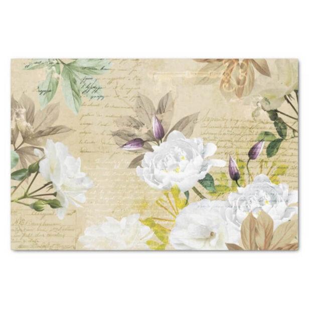 Antique Vintage White Floral Rose & Pressed Leaf Tissue Paper
