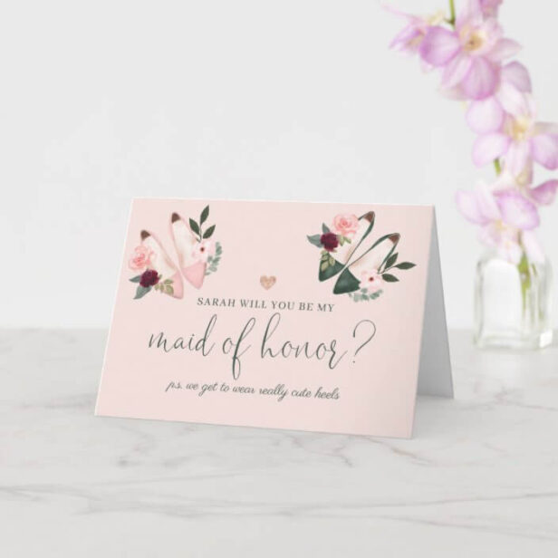Be My Maid of Honor Watercolor High Heels Proposal Pink Card