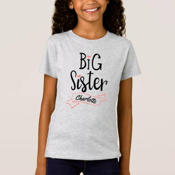 Big Sister Baby Announcement Name & Monogram Grey T-Shirt