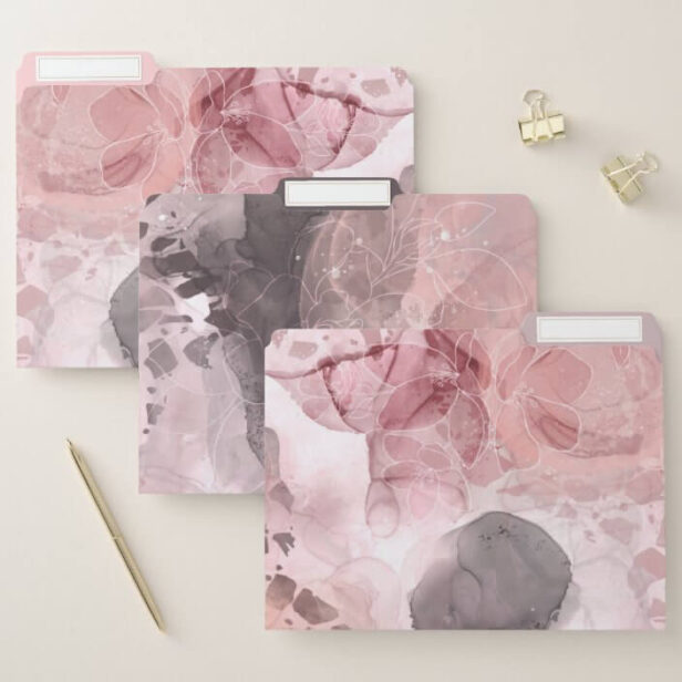 Chic Floral Blush Pink & Grey Alcohol Ink Terrazzo File Folder