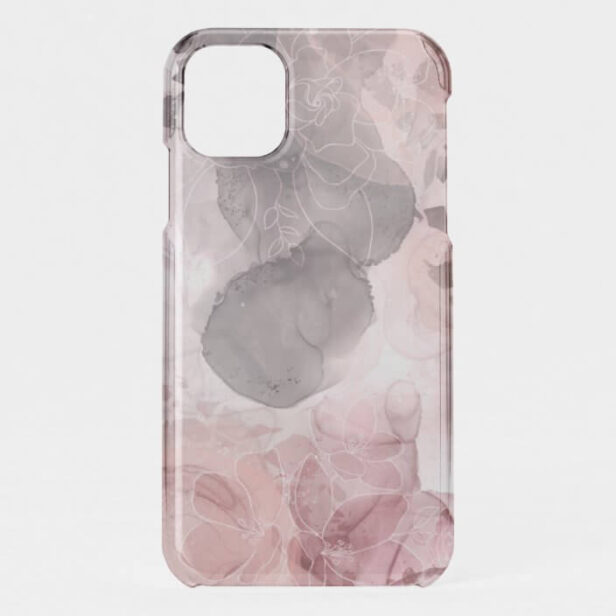 Chic Floral Blush Pink & Grey Alcohol Ink Terrazzo iPhone Case