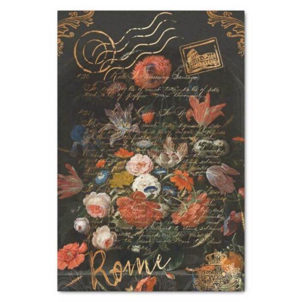 Dark Vintage Moody Floral & Travel Stamp Decoupage Tissue Paper