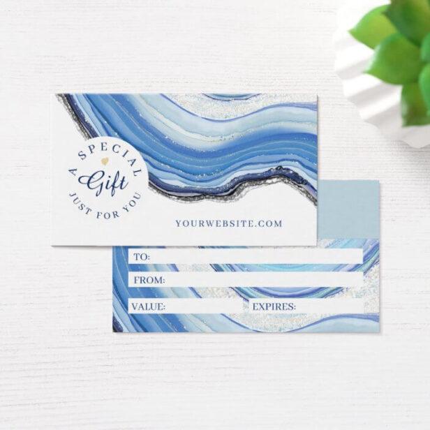 Elegant Navy & Blue Geode Gold Glitter Agate Gift Certificate