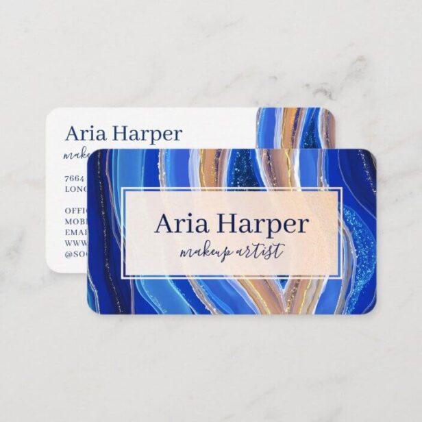 Elegant Navy & Blue Geode Gold Glitter Agate Business Card