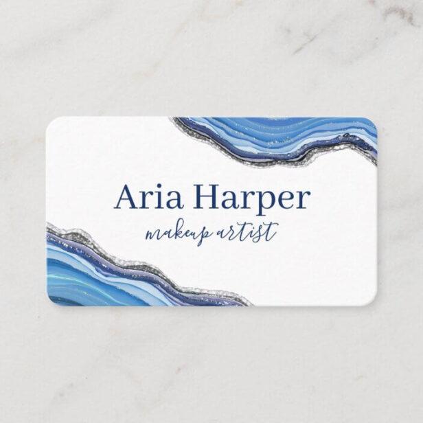 Elegant Navy & Blue Geode Gold Glitter Agate White Business Card