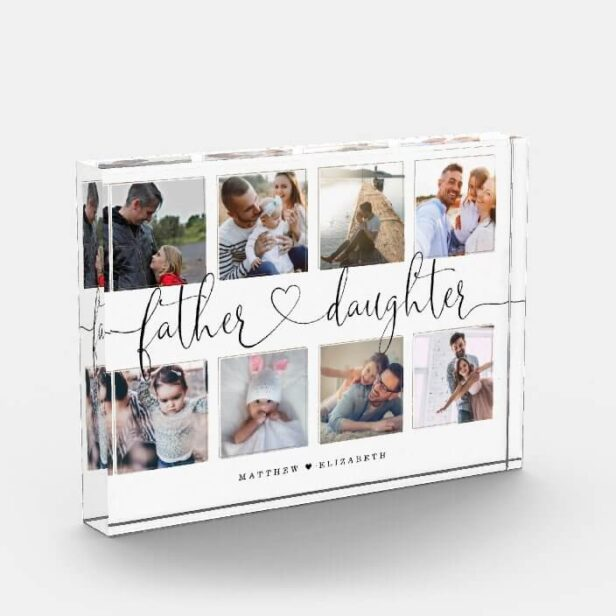Father Daughter Heart Script   Photo Grid Collage