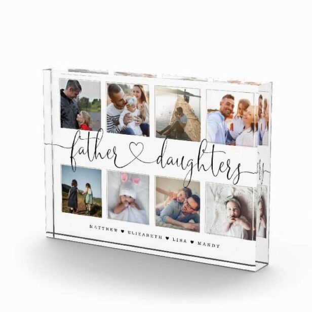 Father Daughters Heart Script   Photo Grid Collage
