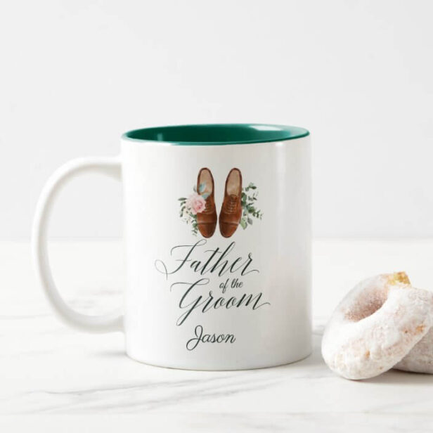 Father of the Groom Watercolor Floral Formal Shoes Two-Tone Coffee Mug