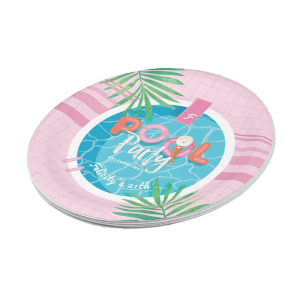 Fun Tropical Pink & Blue Summertime Pool Party Paper Plate