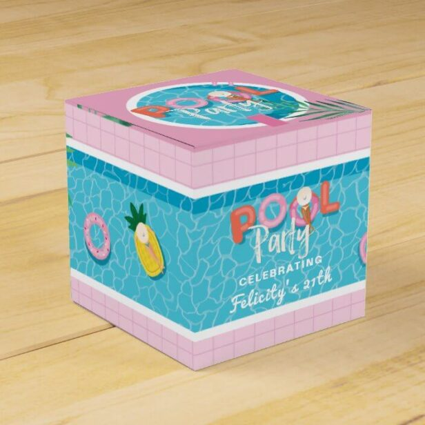 Fun Tropical Pink & Blue Summertime Pool Party Favor Box