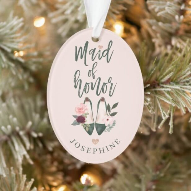 Gift for Maid of Honor | Name & Message High Heels Ornament
