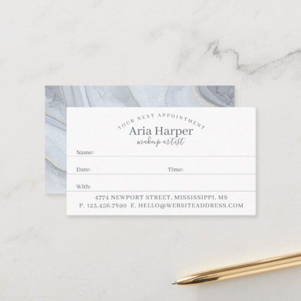 Grey Marble & Silver Geode Gold Glitter Agate Appointment Card