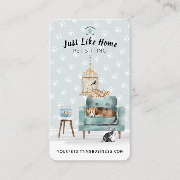 Home Pet Sitting Dog & Cat Sleeping on Green Sofa Business Card