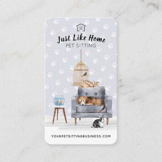 Home Pet Sitting | Dog & Cat Sleeping on Grey Sofa Business Card