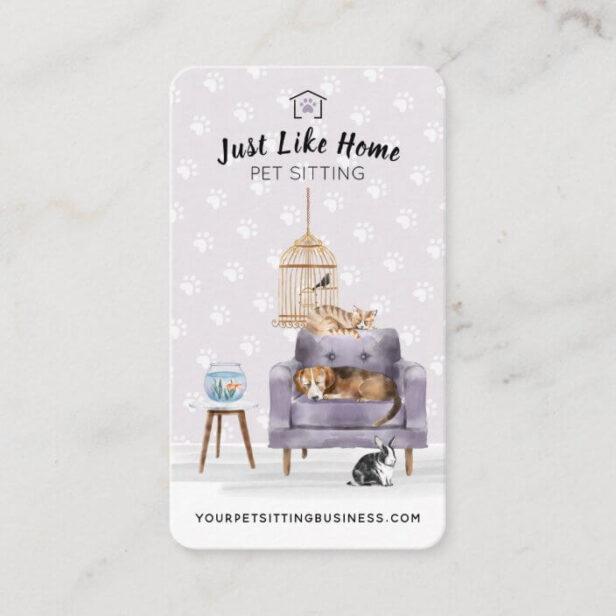 Home Pet Sitting Dog & Cat Sleeping on Mauve Sofa Business Card