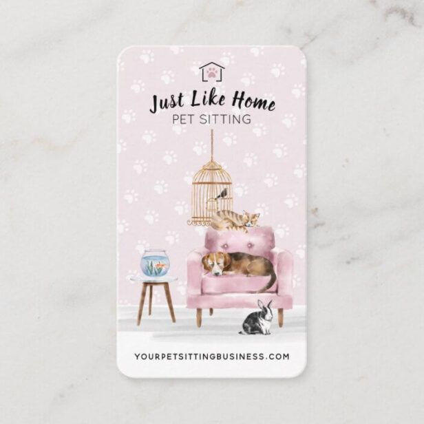 Home Pet Sitting | Dog & Cat Sleeping on Pink Sofa Business Card