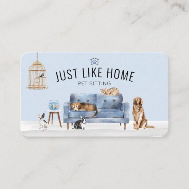 Home Pet Sitting Watercolor Cozy Home Blue Couch Business Card