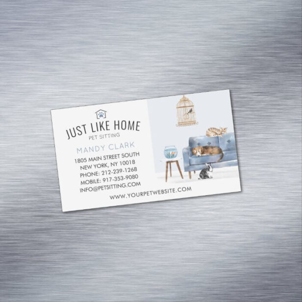Home Pet Sitting Watercolor Cozy Home Blue Couch Business Card Magnet