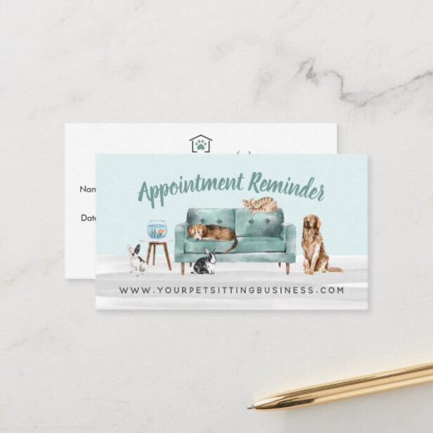 Home Pet Sitting Watercolor Cozy Home Green Couch Appointment Card