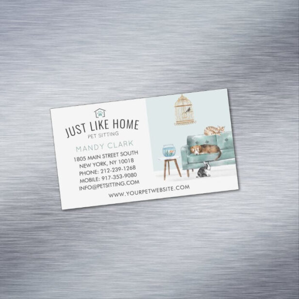 Home Pet Sitting Watercolor Cozy Home Green Couch Business Card Magnet