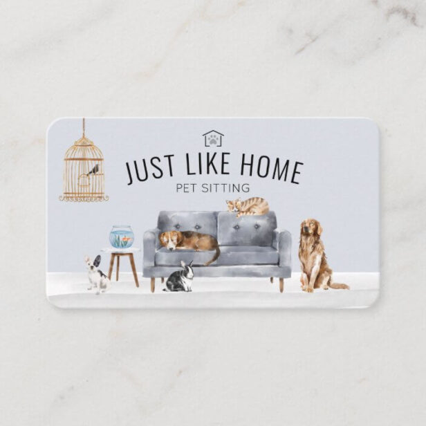 Home Pet Sitting Watercolor Cozy Home Grey Couch Business Card