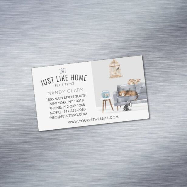 Home Pet Sitting Watercolor Cozy Home Grey Couch Business Card Magnet