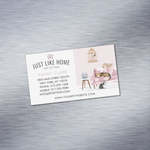 Home Pet Sitting Watercolor Cozy Home Pink Couch Business Card Magnet