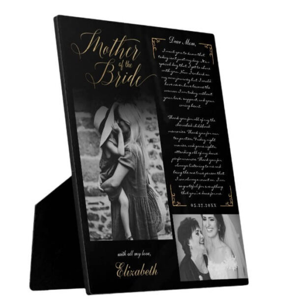 Mother of the Bride   Black Gold Message & Photo Plaque