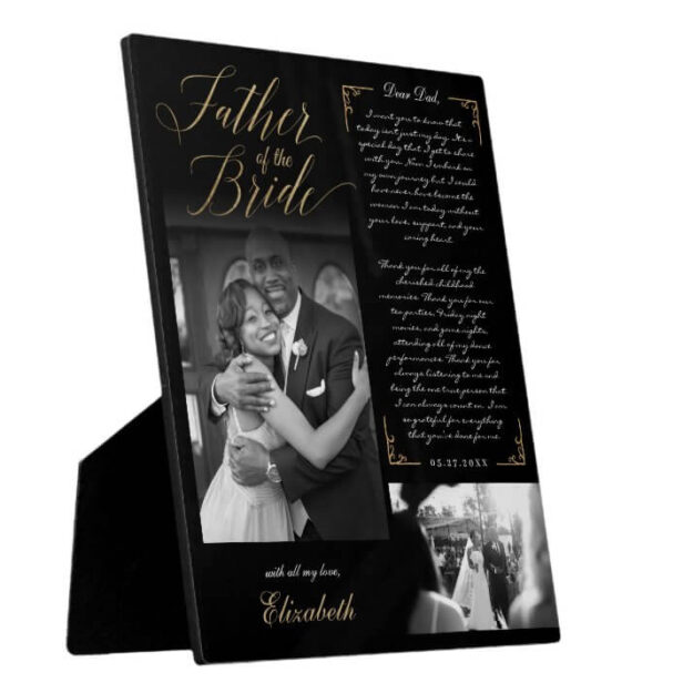 Father of the Bride   Black Gold Message & Photo Plaque