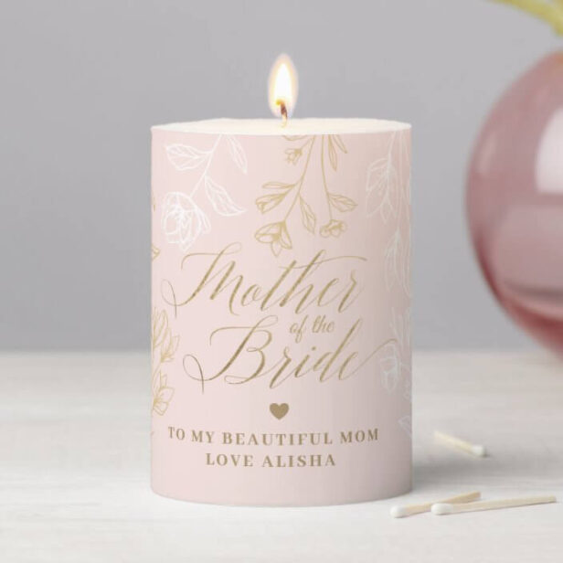 Mother of the Bride   Pink Floral Pattern Wedding Pillar Candle