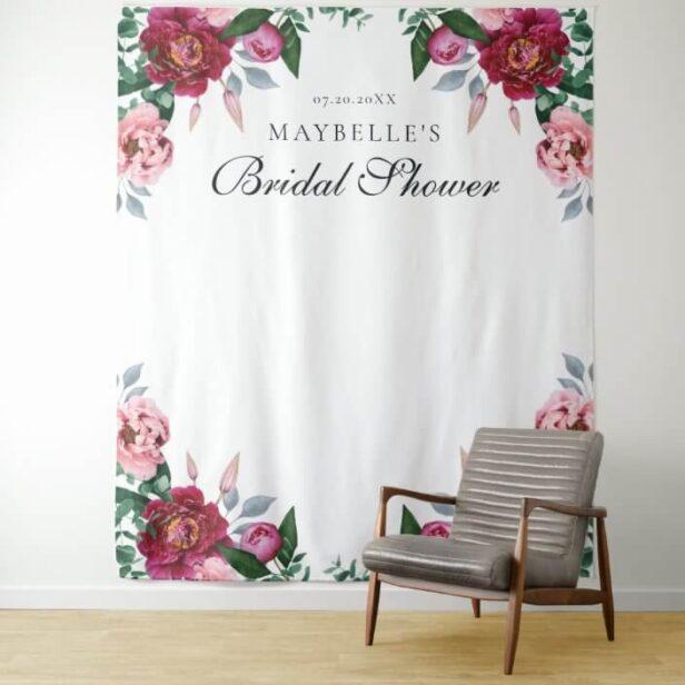 Pink Peony Floral Foliage Botanical Bridal Shower Tapestry