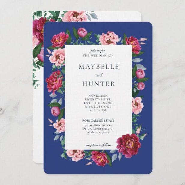 Pink Peony Floral Foliage Botanical Frame Wedding Invitation Berry Blue Background